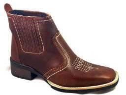 bota country botina couro legitimo botinha estilo texana bico quadrado