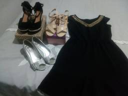 Vendo um vestido , e duas sandálias e um sapato feminino número 37 ,25 reais por peça