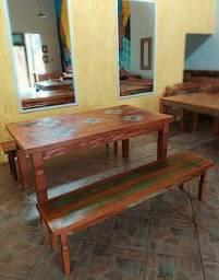 Jogo de Mesa Rústico Angelina em Madeira de Demolição - Cód 2295
