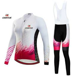 Bretelle e Camisa Manga Longa - Conjunto de Ciclismo Feminino