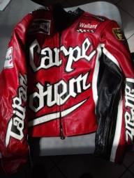 Jaqueta couro motociclista