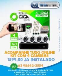 Kit 04 Cameras de Seguranca Giga - Acompanhe Onlin