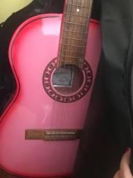 Violão Rosa novo com capa