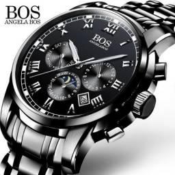 Relógio Angela Bos Preto De Aço Inoxidável + Estojo