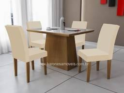 Mesa Retangular Vidro Branco 1,20 c/ cadeiras - Receba Amanhã