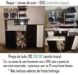 Raque + Caixas de Som + DVD