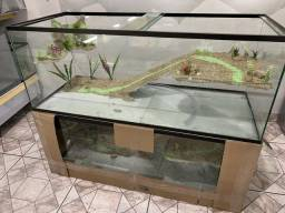 Aquaterrario de 100x40x40cm com plataforma e cascata de água, novo