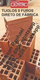 Promoção! Tijolos 8 furos a pronta entrega, com garantia de qualidade