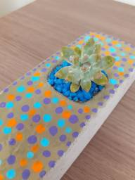 Vaso de cimento com suculenta natural