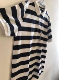 Camisa Polo Regular Fit Listras Azul/Branco NOVA