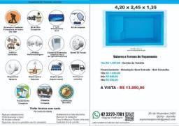 Piscina Fibra 4,20 x 2,45 x 1,35(prof) + Filtro + Instalação