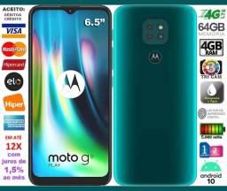 "Moto G9 Play 4G Octa Core 64GB, Tela de 6.5"", Tri Câm 48MP, Novíss, Caixa, NF, Troco"