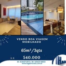 vendo com 65 m² com 2 quartos / Boa Viagem /lazer completo/ mobilhado