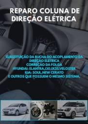 Correção folga na coluna direção elétrica Hyundai i30 ix35 Veloster Kia Soul etc