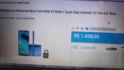 Vendo celular Motorola moto g8 novo, na caixa com nota fiscal e garantia de 1ano.