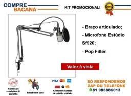 Kit Braço articulado + Microfone estúdio Sf920 + Pop filter