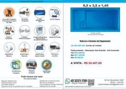 Piscina Fibra 6,5 x 3,5 x 1,45(prof) + Filtro + Instalação