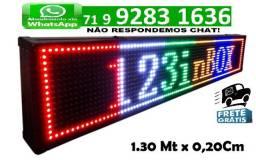 Painel Digital Led Luminoso Letreiro 1,30 x 0,20 m Usb 1 Metro e 30 A Prova Dágua Colorido