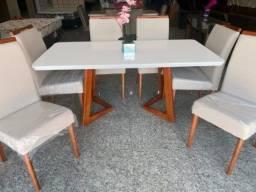 Mesa de Jantar Flávia (Madeira Maciça) 6 cadeiras - Pronta Entrega!!!!