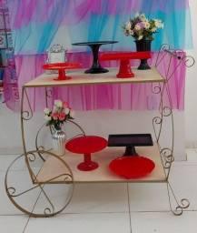 Aluguel carrinho de decoração e painel