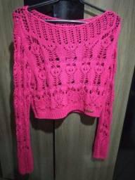 Croped de crochê rosa