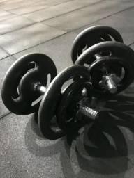 Par de halteres 30kg - barra maciça