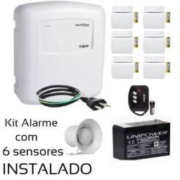 Kit Alarme completo residencial com 6 sensores Instalado