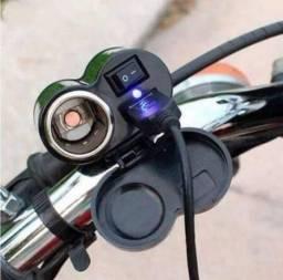 Tomada 12v USB 5v Para Moto Carregador de Celular e GPS