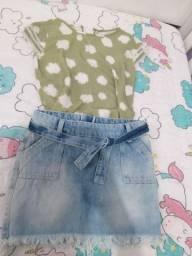 Saia jeans e Blusa estampada