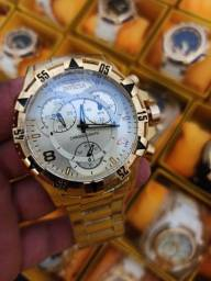 Relógio masculino invicta dourado todo funcional