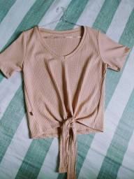 Blusa rosa com nozinho Tam P/M