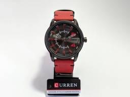 Relógio Masculino Curren Preto e Vermelho
