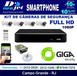 Kit Cftv Dvr Open HD + 4 Câmeras Bullet 1080p Gs0029 - Giga