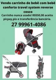 Carrinho de bebê com bebê conforto travel system reverse cosco