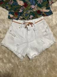 Short branco jeans
