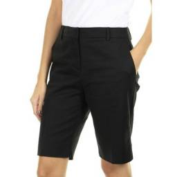 bermuda social feminina cintura alta alfaiatada preta - 44