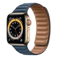 Apple Watch Customizado S6 40mm GPS + Celular Inox Gold + Baltic Blue Leather Link