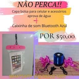Não perca!! Capa bolsa aprova de água e caixinha de som Bluetooth