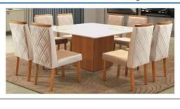 Mesa jantar 8 cadeiras tampo de vidro 100% MDF ZAP *