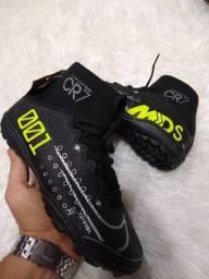 Chuteira Nike CR7 Preta com verde (Frete Gratis)