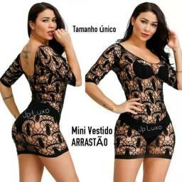 Mini vestido curto Arrastão rendado Original plus size Anita sensual flor fantasia
