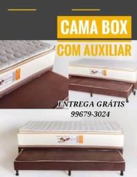 CAMA BOX SOLTEIRO COM AUXILIAR