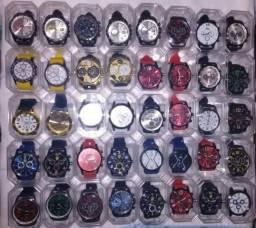 Relógios masculinos com pulseira de couro novos marcas sport 22 reais com brinde