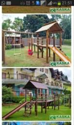 Parquinho playground casinha madeira