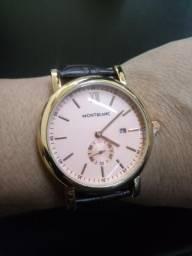 Relógio pulseira de couro mont Blanc Novo