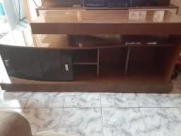 """Rack de sala preto com imbuia  + painel TV 50"""" preto com imbuia"""