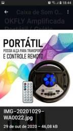 Caixa De Som Amplificada Portátil Bluetooth Microfone Grátis