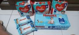 Fralda pampers e huggies + lenços