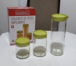 Conjunto de potes de vidro empilháveis da Haüskraft