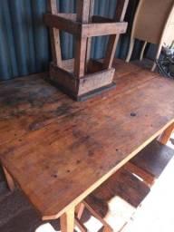 Meza de madeira com 3 bancos meza Fort